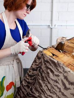 Give an old bench a new lease on life by stripping then refinishing the legs and freshening up the upholstery with new foam and fabric.