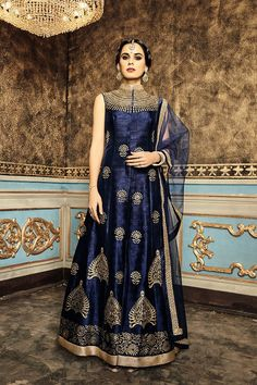 Picture of Palatial royal blue raw silk suit