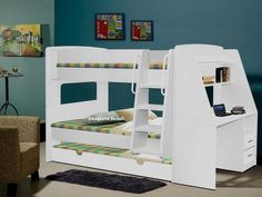 Luxury Solid Wood White Triple Sleeper Bunk Beds