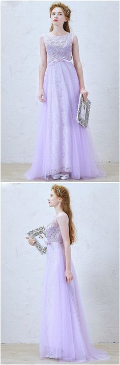 Lilac Romantic A-Line Scoop Neck Floor-Length Lace Tulle Wedding Dress With Bow
