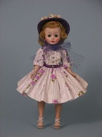 1958 #830 MADAME ALEXANDER CISSETTE DOLL IN PURPLE FLORAL DRESS    www.annasdolls.com