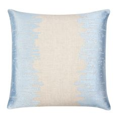 """Piper Collection   Lee   Lee is a 22x22"""" linen pillow with powder blue embroidery"""