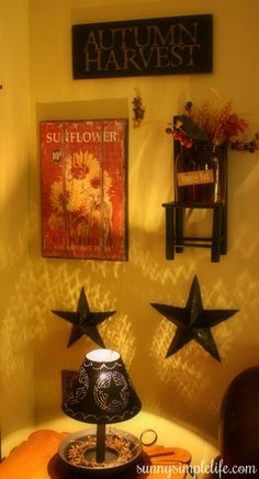 Primitive Fall Decorating Ideas - Crocks and Stacking Boxes
