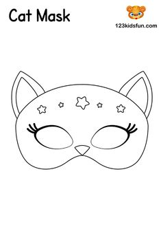 Cat Mask - Free Printable Mask Template for Kids. Free Activities For Kids, Free Preschool, Preschool Learning, Learning Games, Educational Games, Crafts For Kids, Animal Mask Templates, Printable Animal Masks, Masquerade Mask Template