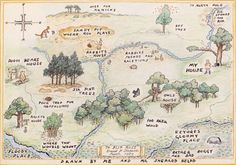mapsontheweb:  The Hundred Acre Wood and other haunts of Winnie-the-Pooh and Piglet, 1959.