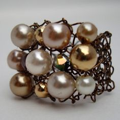 Copper Cocktail Ring Ivory Pearl Large Cluster Ring by lapisbeach