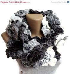 ON SALE 2014 scarf trend ,infinity scarves ,floral ,lariat scarf ,eternity scarf ,gray black white ACRYLIC yarn on Etsy, $33.00