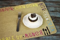 Whimsical Food Word Placemat -- Make a fun placemat using Americana Stencils and Americana Multi-Surface Satin Acrylics.  #decoartprojects