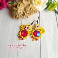 Available! ;) Soutache Earrings, Earrings, Soutache, Yellow Earrings, Soutache jewelry, Fuchsia earrings, Colored Earrings, Gift for Her, Flower Earrings,