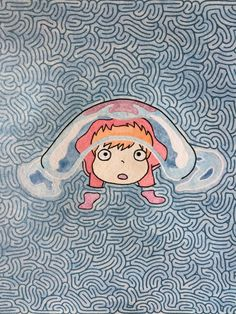 Original Disney studio Ghibli Miyazaki Ponyo fish Maze painting drawing 8x10 by MazeMonster on Etsy
