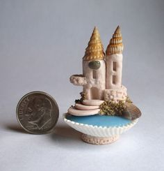 Handmade Miniature Sand Castle in Seashell with Cove OOAK by C Rohal | eBay