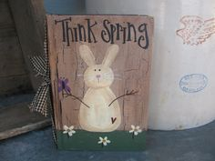 Primitive Country Bunny Rabbit and Butterfly by GainersCreekCrafts