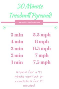 30 minute treadmill pyramid. Kick up the calorie burn and improve your speed with this customizable speed workout!