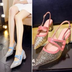 Summer 2017 Sexy Pointed Toe Womens Low Heel Pumps Zapatillas De Mujer Bling Shoes Chunky Heel Women'S Shoes Blue&Pink