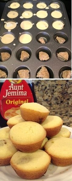 Any favorite pancake mix, pour over fully cooked sausage (or bacon or fruit), bake in mini muffin tins for bite sized pancakes! - good idea for breakfast on the go! - Click image to find more Food & Drink Pinterest pins