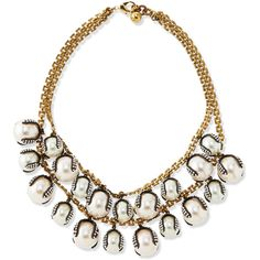 Lulu Frost Decade Simulated Pearl Statement Necklace (€245) ❤ liked on Polyvore featuring jewelry, necklaces, accessories, colar, pearl, imitation pearl necklace, box chain necklace, faux pearl statement necklace, beading necklaces and bead strand necklace