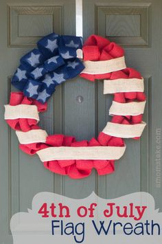 I love everything Red, White  Blue! This #DIY 4th of July burlap flag wreath shows off your patriotic spirit! #amomstake