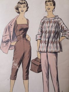 Vintage Advance 7074 Sewing Pattern, 1950s Playsuit Pattern, 1950s Sewing Pattern, Beach Coat Pattern, Jumpsuit Pattern, Pants, Bust 30 on Etsy, $27.50