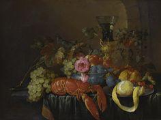 c~1660 Still life with lobster, lemon and fruit by Cornelis de Heem