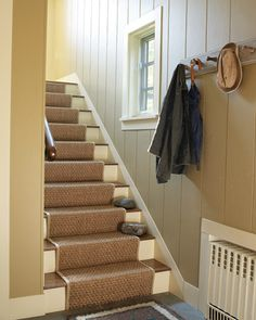 "See the ""Guest House Stairs"" in our Home Tour: Seal Harbor Haven gallery Sisal Stair Runner, Stair Runners, Basement Steps, Hardwood Stairs, House Stairs, Garage Stairs, Entry Hall, Entrance, Home"