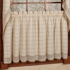 "Sweet Home Collection Adirondack Cotton Kitchen Window Tier Curtain Size: 24"" L x 60"" W, Color: Toast"