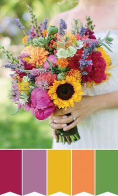Colourful sunflower bridal bouquet | www.onefabday.com