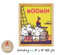 The Moomins Bon Voyage print Moomin print printable wall | Etsy Drop Shadow, Miffy, Moomin, Online Print Shop, Wall Prints, Printable Wall Art, Home Art, Online Printing, Nursery