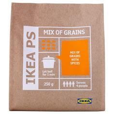 IKEA - IKEA PS, Whole grain mix with spices, Nordic whole-grains (oat, wheat, rye and barley), flavored with wild garlic, jalapeno, lemon and lingonberries. Use as an accompaniment to poultry, fish or various meats.Easily prepared foods save time in the kitchen. Bring to boil, let rest, done.This product is as tasty cold as it is warm.Only natural ingredients.Extra-long shelf life means less food waste.
