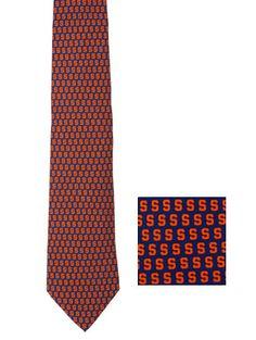 Preppy Navy and Orange Block S Syracuse Tie by Vineyard Vines