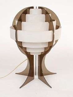 Plastic lamp smoke perspex stands with horizontal white plastic slats designer execution unknown ca.1970