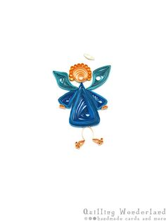 Christmas Angel quilled greeting card blue by QuillingWonderland, $7.50