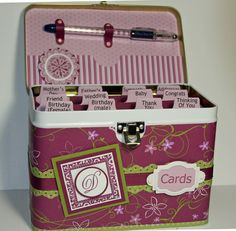 Such a cute idea for keeping all my handcrafted cards in one place - Complete with pen:) So pretty, purple & lime green