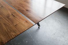 Aluminum inlay. Conference Table, Hardwood, Industrial, Steel, Furniture, Design, Home Decor, Industrial Music, Interior Design