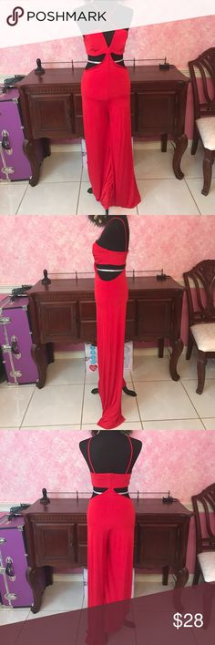 Nasty Gal Cut Out Jumpsuit Red jumpsuit from nasty gal, 95% polyester 5% spandex Nasty Gal Pants Jumpsuits & Rompers