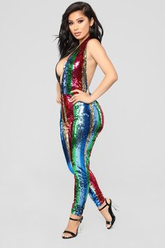 05c942798461 Feel Me With Sequins Jumpsuit - Multi