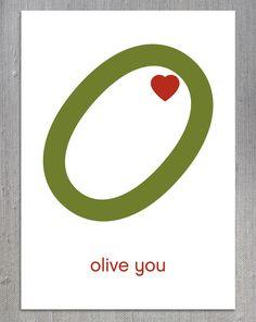 Olive You Printable Card, Digital Download, Valentine's Day Card