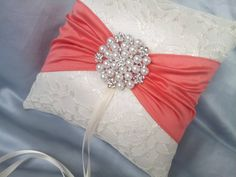 Ivory Coral Ring Bearer Pillow Satin Sash Lace Ring by Allofyou