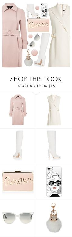 """Girl Boss! _ White Boots Contest"" by deeyanago ❤ liked on Polyvore featuring Topshop, Balmain, Gianvito Rossi, BCBGMAXAZRIA, Casetify, Ray-Ban and Natasha"