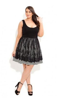 Plus Size Lace Stripe Swing Dress - City Chic - City Chic