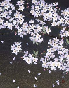 さくらさく 2011年-37-野地美樹子 Japanese Art Styles, Japanese Drawings, Sakura Cherry Blossom, School Art Projects, Japanese Painting, Japan Art, Woodblock Print, Vintage Prints, Flower Art