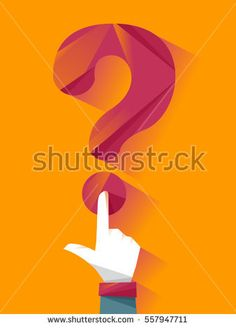 Conceptual Illustration of a Man Pressing the Dot at the Bottom of a Question Mark