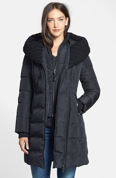 $650 Mackage 'Brigid' Knit Collar Hooded Down Coat available at #Nordstrom
