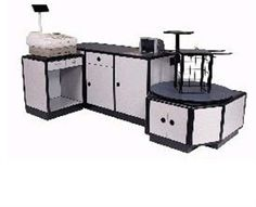 FK Check-out Stand, belt driven, laminated wood, or metal cabinets with stainless steel top