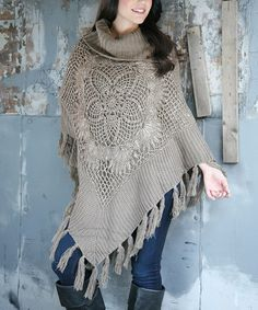 Love this Gray Floral Button-Up Fringe Poncho on #zulily! #zulilyfinds