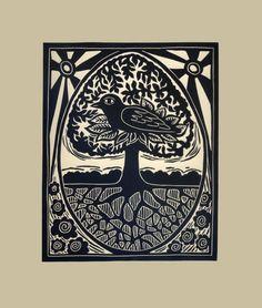 Bird, Tree and Egg original linocut