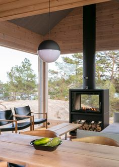 Self-sustaining Project Ö cabins in Finland are heated by a sauna stove