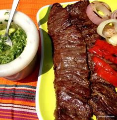 Grilled Churrasco with Green and Red Chimichurri HispanicKitchen.com