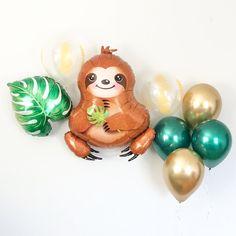 Sloth Balloon, Tropical Party Balloons, Jungle Theme Party Decorations, Safari Theme Party Decor, Go Safari Theme Birthday, Jungle Theme Parties, Safari Party, Party Themes, Jungle Party, 2nd Birthday, Birthday Parties, Balloon Decorations, Baby Shower Decorations