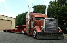 Petey car and thri-axle sled Show Trucks, Big Rig Trucks, Dump Trucks, Old Trucks, Custom Big Rigs, Custom Trucks, Train Truck, Road Train, Big Ride