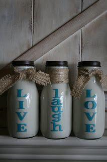 Redefining C: LIVE laugh LOVE Milk Bottles-DIY